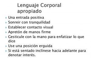 lenguaje corporal apropiado